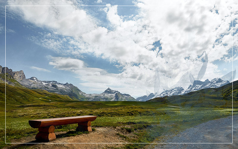 Mountain landscape and bench